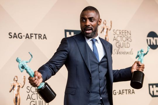 Jan. 30, 2016 - Los Angeles, CA, U.S - Actor Idris Elba, winner of the Outstanding Performance by a Male Actor in a Television Movie or Miniseries and Outstanding Performance by a Male Actor in a Supporting Role awards during the 22nd Annual Screen Actors Guild Awards at the Shrine Auditorium in Los Angeles, Calif. on Saturday January 30, 2016. (Credit Image: © Watchara Phomicinda/Los Angeles Daily News via ZUMA Wire)