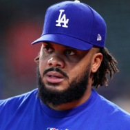 HOUSTON, TX - OCTOBER 28: Kenley Jansen #74 of the Los Angeles Dodgers looks on before game four of the 2017 World Series against the Houston Astros at Minute Maid Park on October 28, 2017 in Houston, Texas. (Photo by Tom Pennington/Getty Images)