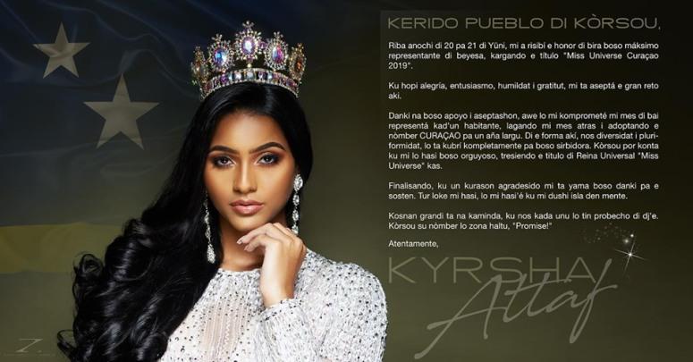 MissUniverse – Kyrsha Attaf will carry the name Curaçao
